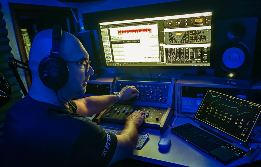 Branimir Jelčić at work mixing radio jingle